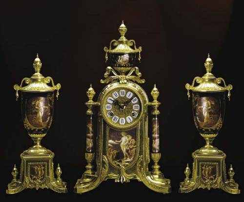 Antique Style French Louis Porcelain, Rosso Bordeaux, d'Oro Ormolu Garniture - Mantel Clock, Urn Set - French Gold Patina - Handmade Reproduction of a 17th, 18th Century Dore Bronze Antique, 6277