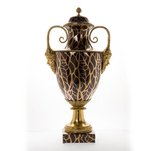 ***Lyvrich d'Elegance, Porcelain and Gilded Dior Ormolu | Bel Air, Black and Metallic Gold Vein | Potiche Jar, Covered Urn | Centerpiece | 34.67t X 16.94w X 12.21d | 6296