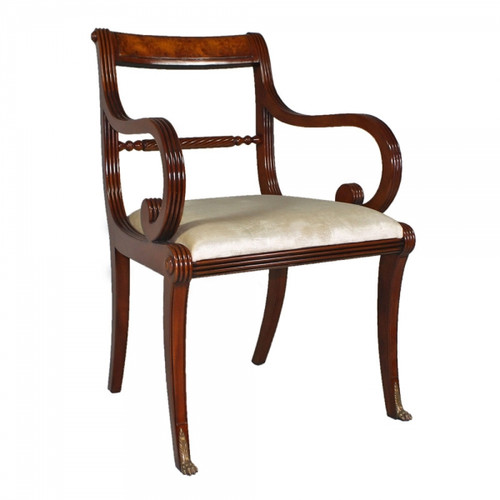 George IV English Regency Period - Handcrafted Reproduction Dining | Accent | Armchair - Off White Velvet Upholstery 053 - Wood Tone Luxurie Furniture Finish MLSC
