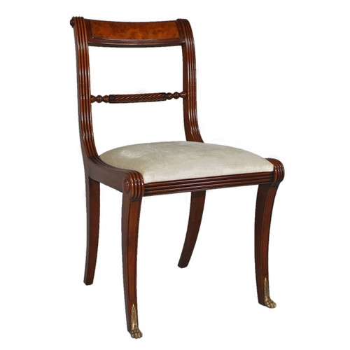 George IV English Regency Period - Handcrafted Reproduction Dining Side | Accent | Desk Chair - Off White Velvet Upholstery 053 - Wood Tone Luxurie Furniture Finish MLSC