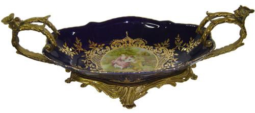 ***Lyvrich d'Elegance, Porcelain and Gilded Dior Ormolu | Victor Hugo's Summer Courtship, Bleu foncé et doré | Versailles Platter | Tray | Centerpiece | 6.11t X 18.91L X 8.67d | 6311