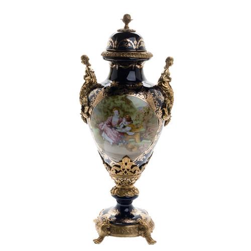 ***Lyvrich d'Elegance, Porcelain and Gilded Dior Ormolu | Victor Hugo's Summer Courtship, Bleu foncé et doré | Versailles Potiche Jar | Covered Urn | Centerpiece | 31.32t X 13.00w X 11.43d | 6312