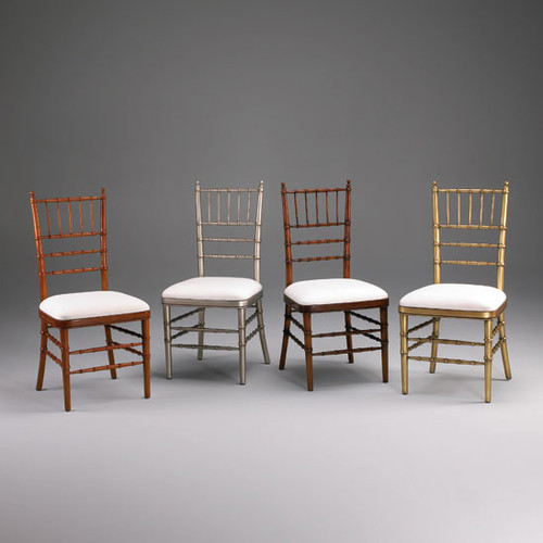 Late Georgian Sheraton Bamboo Style - 40 Inch Handcrafted Reproduction Dining Side | Accent Gala Chair - Upholstery Custom - Luxurie Furniture Finish Custom