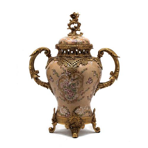 ***Lyvrich d'Elegance, Porcelain and Gilded Dior Ormolu | European Potiche Jar | Covered Statement Urn | Centerpiece | 21.67t X 16.55w X 9.85d | 6321