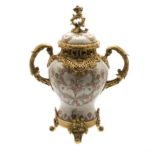 ***Lyvrich d'Elegance, Porcelain and Gilded Dior Ormolu | European Potiche Jar | Covered Statement Urn | Centerpiece | 21.67t X 16.55w X 9.85d | 6323