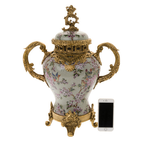 ***Lyvrich d'Elegance, Crackle Porcelain and Gilded Dior Ormolu | Pink Blossoms and Pretty Birds | European Potiche Jar | Covered Statement Urn | Centerpiece | 21.67t X 16.55w X 9.85d | 6326