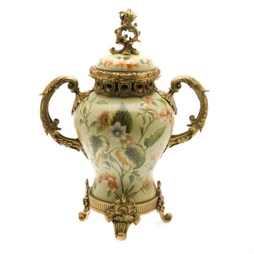 ***Lyvrich d'Elegance, Porcelain and Gilded Dior Ormolu | European Potiche Jar | Covered Statement Urn | Centerpiece | 21.67t X 16.55w X 9.85d | 6327