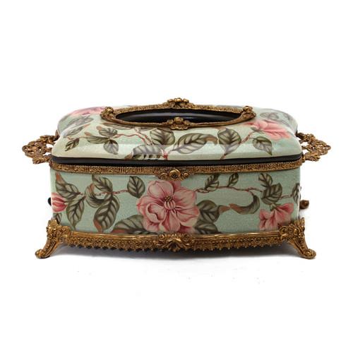 ***Lyvrich d'Elegance, Porcelain and Gilded Dior Ormolu | Crackle | Tissue Box Centerpiece | 4.73t X 11.62L X 6.34d | 6333