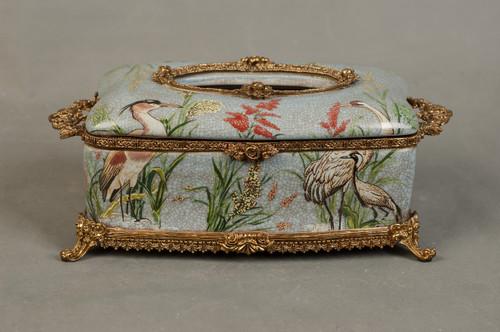 ***Lyvrich d'Elegance, Porcelain and Gilded Dior Ormolu | Crackle, Crane Motif | Tissue Box Centerpiece | 4.73t X 11.62L X 6.34d | 6338