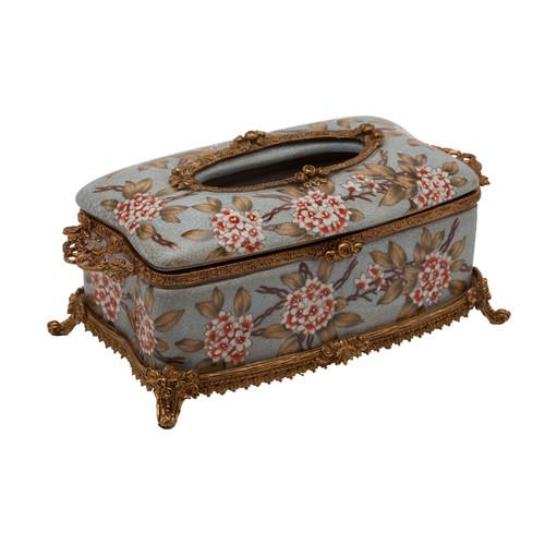 ***Lyvrich d'Elegance, Porcelain and Gilded Dior Ormolu | Crackle | Tissue Box Centerpiece | 4.73t X 11.62L X 6.34d | 6340