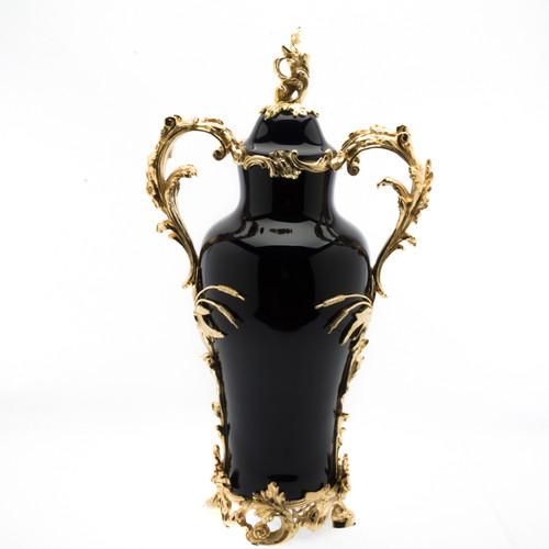 ***Lyvrich d'Elegance, Black Porcelain and Gilded Dior Ormolu | European Potiche Jar | Covered Statement Urn | Centerpiece | 28.96t X 15.76w X 9.73d | 6342