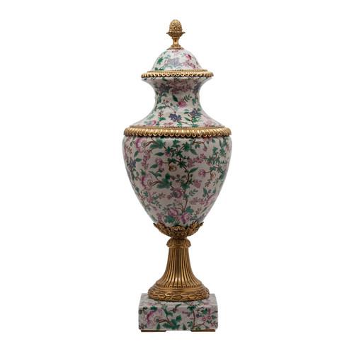 ***Lyvrich d'Elegance, Porcelain and Gilded Dior Ormolu | European Potiche Jar | Covered Statement Urn | Centerpiece | 28.56t X 10.05w X 10.05d | 6346