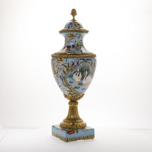 ***Lyvrich d'Elegance, Porcelain and Gilded Dior Ormolu | European Potiche Jar | Covered Statement Urn | Centerpiece | 28.56t X 10.05w X 10.05d | 6347