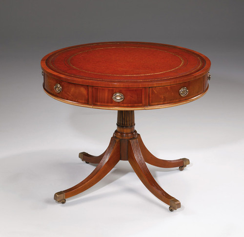 Late Georgian Thomas Sheraton Style - 36 Inch Handcrafted Reproduction Entry   Round Inlaid Leather Center Table - Mahogany Luxurie Furniture Finish M