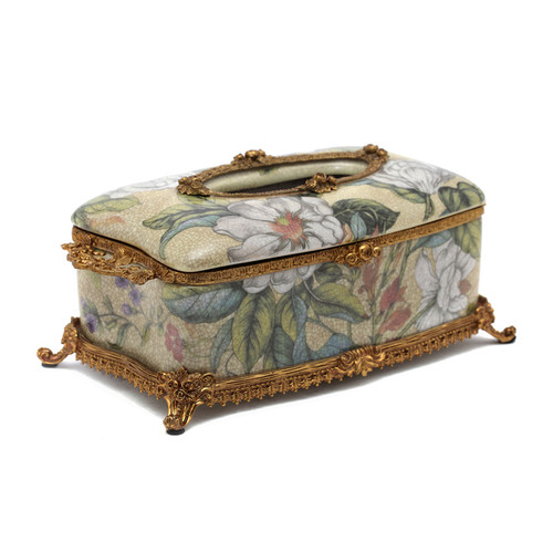 ***Lyvrich d'Elegance, Porcelain and Gilded Dior Ormolu | Crackle | Tissue Box Centerpiece | 4.73t X 11.62L X 6.34d | 6354
