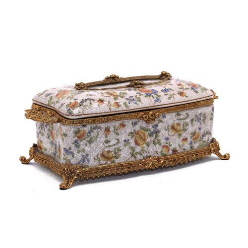***Lyvrich d'Elegance, Porcelain and Gilded Dior Ormolu | Crackle | Tissue Box Centerpiece | 4.73t X 11.62L X 6.34d | 6356