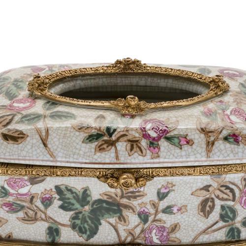 ***Lyvrich d'Elegance, Porcelain and Gilded Dior Ormolu | Crackle | Tissue Box Centerpiece | 4.73t X 11.62L X 6.34d | 6359