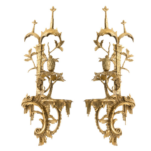 "***Lyvrich d'Elegance, Gilded Dior Ormolu | Right and Left Facing | Accented Taper Candle Wall Sconce | Chinese Chippendale Furniture | 2'1""t X 9.65""w X 5.91""d"