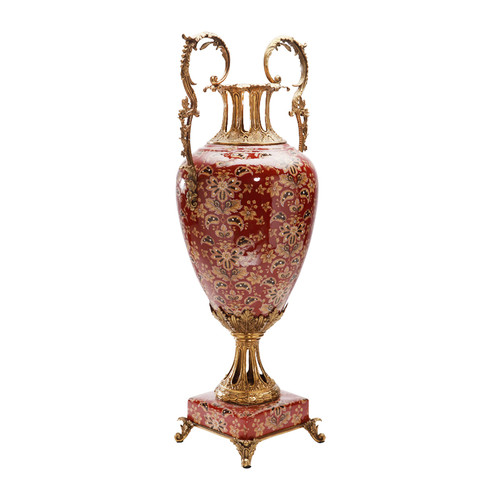 ***Lyvrich d'Elegance, Handpainted Porcelain and Gilded Dior Ormolu | Potiche Vase | Trophy Cup #1 | Statement Centerpiece | 30.34t X 13.95w X 10.64d | 6363 | Red Body with Gold Flowers