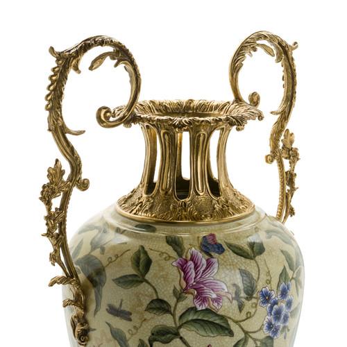 ***Lyvrich d'Elegance, Crackle Porcelain and Gilded Dior Ormolu | Potiche Vase | Trophy Cup #1 | Statement Centerpiece | 30.34t X 13.95w X 10.64d | 6364 | Blue and Rose Flowers