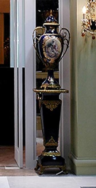 ***Lyvrich d'Elegance, Porcelain and Gilded Dior Ormolu | Fragonard, Plant Stand | Fantastic Entryway Centerpiece | 38.61t X 16.94w X 16.94d | 6382