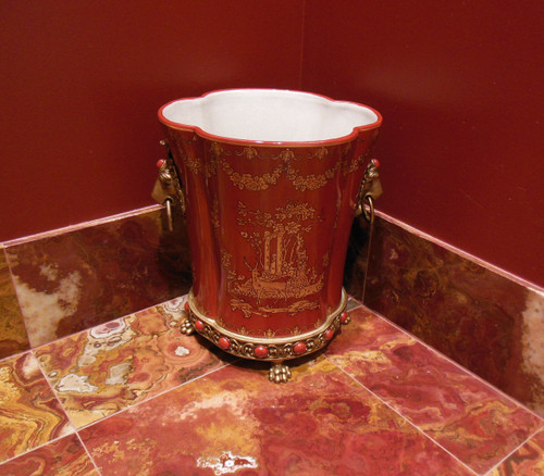 ***Lyvrich d'Elegance, Porcelain and Gilded Dior Ormolu | Glen Cove Wastebasket, Trash Can, Receptacle | Warm Red and Gold Jeweled Chinoiserie | 12.00t X 10.05w X 10.05d | 6404