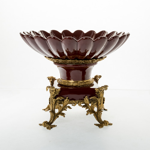 ***Lyvrich d'Elegance, Dark Polished Porcelain and Gilded Dior Ormolu | Fruit Bowl, Compotier Dish | Centerpiece | 12.45t X 15.75w X 15.75d | 6406