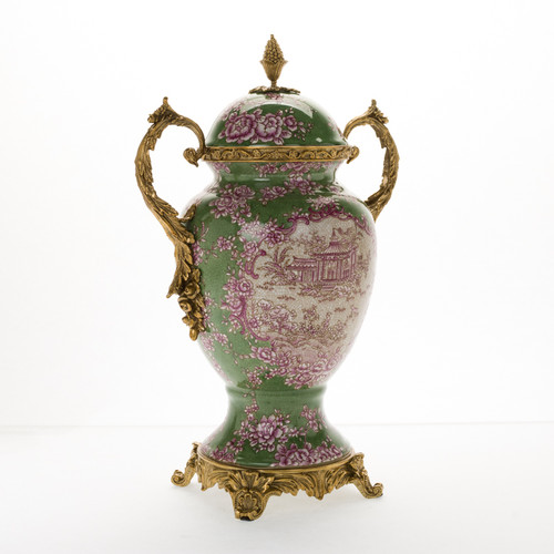 ***Lyvrich d'Elegance, Crackle Porcelain and Gilded d'oro Brass | Covered Jar | Urn Centerpiece | Whimsical Japanese Residence | 15.56t X 10.32w X 6.86d | 6416