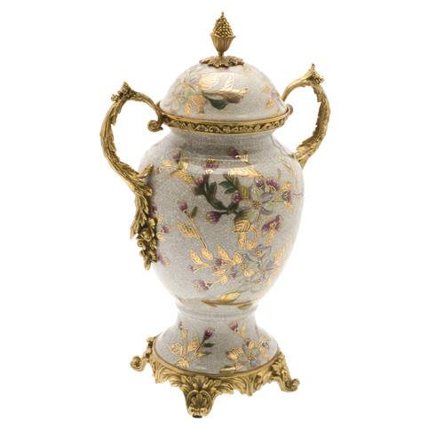 ***Lyvrich d'Elegance, Crackle Porcelain and Gilded d'oro Brass | Covered Jar | Urn Centerpiece | Pastel Watercolor Flowers & d'or Gold | 15.56t X 10.32w X 6.86d | 6417