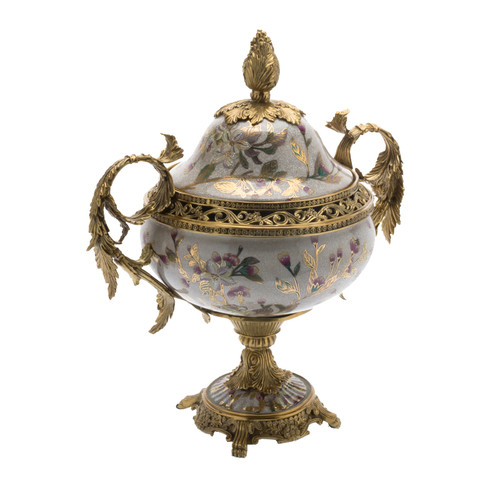 ***Lyvrich d'Elegance, Crackle Porcelain and Gilded d'oro Brass | Pastel Watercolor Flowers & d'or Gold |Covered Jar | Urn Centerpiece | 18.91t X 16.74w X 11.03d | 6422