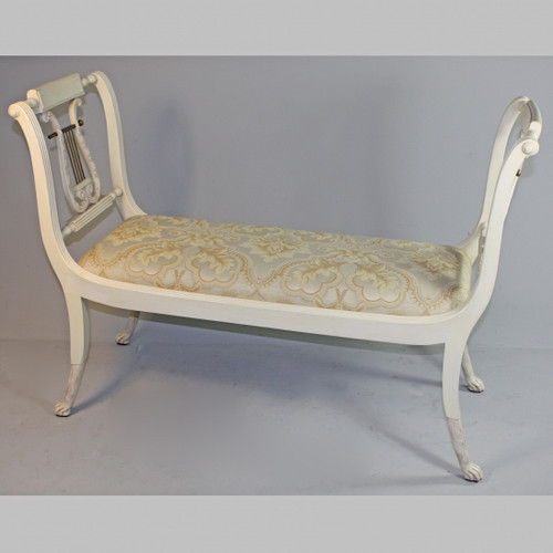 American Empire Duncan Phyfe - 47 Inch Handcrafted Reproduction Lyre Bench - Damask Upholstery 045 - Painted White Luxurie Furniture Finish PWH
