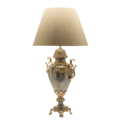 ***Lyvrich d'Elegance, Porcelain and Gilded Dior Ormolu | Crackle, Lotus Scroll Arabesque | Table Lamp Centerpiece | 32.50t X 18.44w X 12.02d | 6430