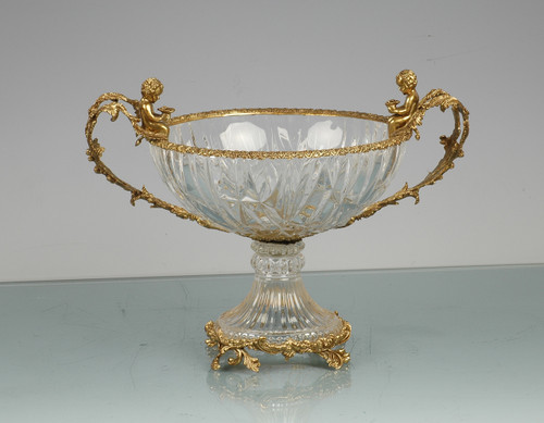 ***Lyvrich d'Elegance, Cut Crystal and Gilded d'or Brass Ormolu Trim | Compote Fruit Bowl | Centerpiece Dish | 16.86t X 13.00w X 12.33d | 6436