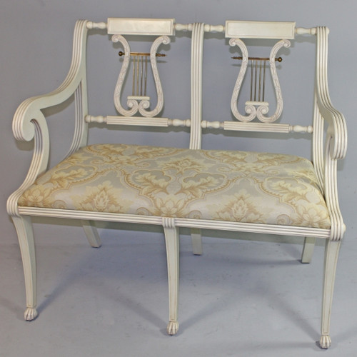 American Empire Duncan Phyfe - 40 Inch Handcrafted Reproduction Lyre Back Settee - Damask Upholstery 045 - Painted White Luxurie Furniture Finish PWH
