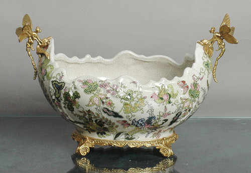 ***Lyvrich d'Elegance,   Handmade Flower Pot, Statement Planter Centerpiece   Porcelain and Gilded Ornamental, Dragonfly Dior Ormolu,   Unspecified Pattern, Dark Blue, Salmon Pink, Green and Gold,   9.85t X 14.74L X 8.98d   6442