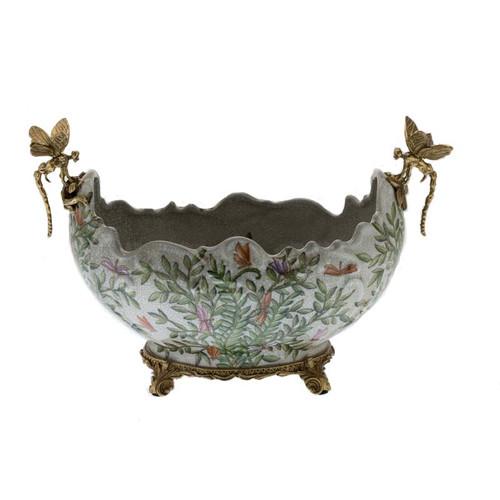 ***Lyvrich d'Elegance,   Handmade Flower Pot, Statement Planter Centerpiece   Porcelain and Gilded Ornamental, Dragonfly Dior Ormolu,   Unspecified Pattern, Green, Purple and Orange Butterflies,   9.85t X 14.74L X 8.98d   6443