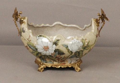 ***Lyvrich d'Elegance,   Handmade Flower Pot, Statement Planter Centerpiece   Porcelain and Gilded Ornamental, Dragonfly Dior Ormolu,   Unspecified Pattern, Oversize Flowers,   9.85t X 14.74L X 8.98d   6444