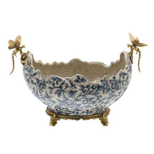 ***Lyvrich d'Elegance,   Handmade Flower Pot, Statement Planter Centerpiece   Porcelain and Gilded Ornamental, Dragonfly Dior Ormolu,   Blue and White, Tan Fractured, Fruits,   9.85t X 14.74L X 8.98d   6446