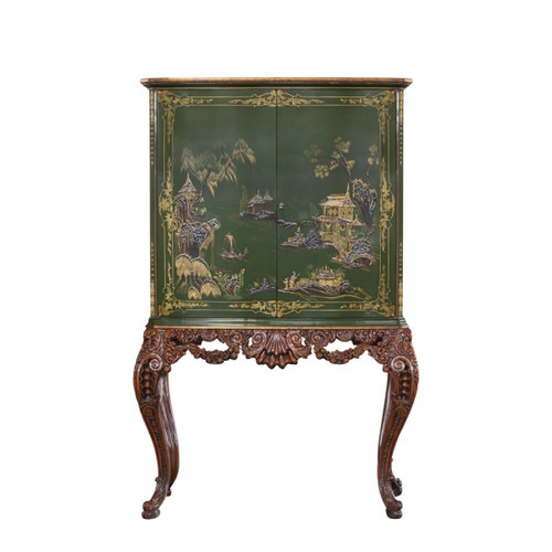 ***Chinoiserie Chinese Style Carved - 67 Inch Handcrafted Reproduction Bar Cabinet - Green - RG and Gilt Luxurie Furniture Finish | 6449