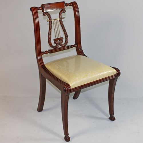 American Empire Duncan Phyfe - 34.5 Inch Handcrafted Reproduction Lyre Back Dining Side | Accent | Desk Chair - Upholstery 041 - Wood Tone Mahagany Luxurie Furniture Finish M