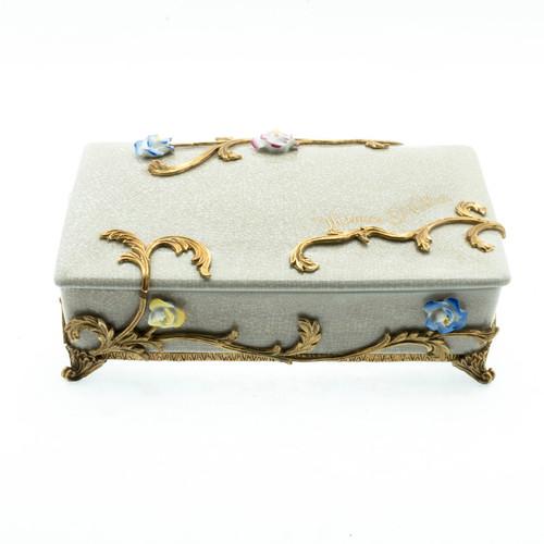 ***Lyvrich Objet d'Art | Trinket, Display Box | Raised Porcelain Flowers and Gilded Dior Ormolu Trim, | 11.82L X 8.08d X 4.14t | 6461