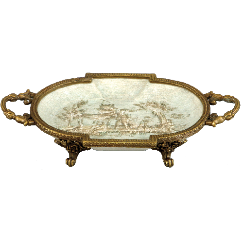 "***Celadon Toile | Small Decorative Dish, | Gilded Dior Ormolu Trim, | 6""L X 4""d X 2""t | 6463"