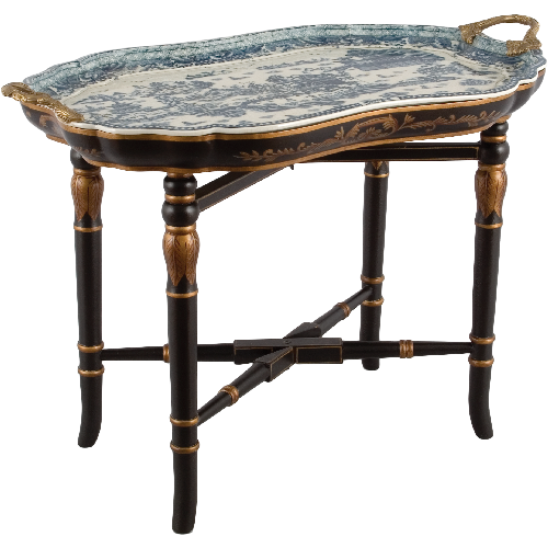 "***Blue & White Willow | Tray on Stand, Cocktail, Coffee, End Table | Gilded Dior Ormolu Trim, | 29"" X 20"" X 17"" 