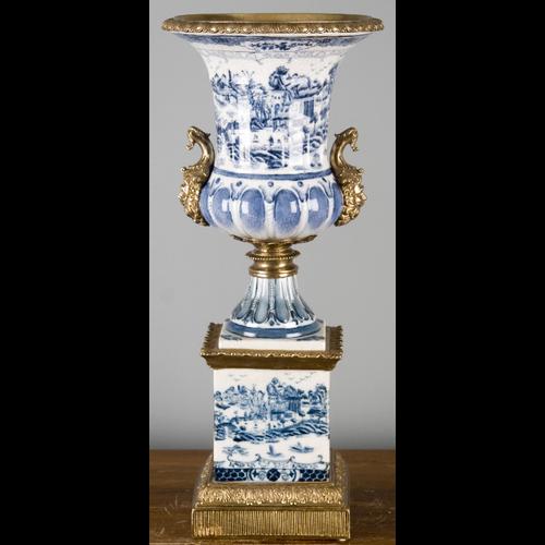 "***Blue & White Willow | Trophy Cup on Plinth, Centerpiece Vase | Gilded Dior Ormolu Trim, | 8""w X 8""d X 20""t | 6467"