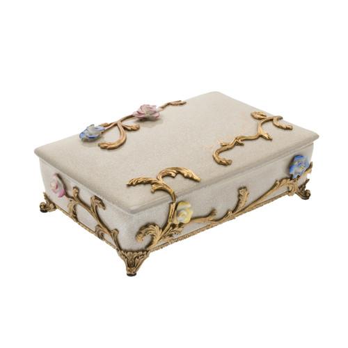 ***Lyvrich Objet d'Art | Trinket, Display Box | Raised Porcelain Flowers and Gilded Dior Ormolu Trim, | 11.82L X 8.08d X 4.14t | 6472