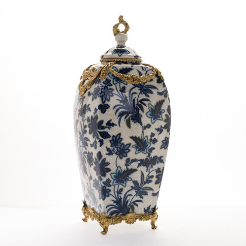 "***Lyvrich Objet d'Art | Handmade Jar, Statement Urn Centerpiece, | Blue and White Flora with Soft Gold, | Porcelain with Gilded Dior Ormolu Trim, | Square, 19.50""t X 8.04""w X 8.04""d 