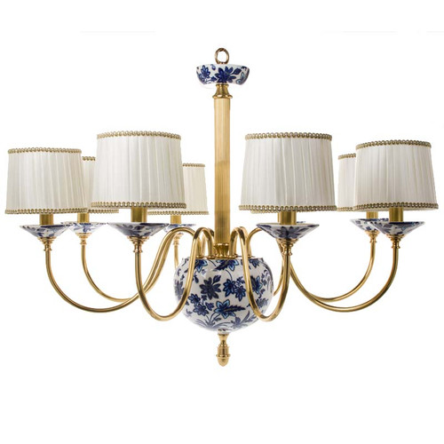 "***Lyvrich Objet d'Art | Handmade, 6 Light, Breakfast | Dining Chandelier, | Blue and White Flora with Soft Gold, | Bone China with Gilded Dior Ormolu Trim, | 28.37""t X 39.40""w X 39.40""d 