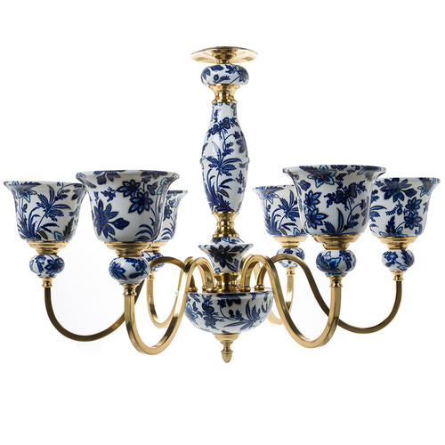 "***Lyvrich Objet d'Art | Handmade, 6 Light, Breakfast | Dining Chandelier, | Blue and White Flora with Soft Gold, | Bone China with Gilded Dior Ormolu Trim, | 23.17""t X 27.46""w X 27.46""d 