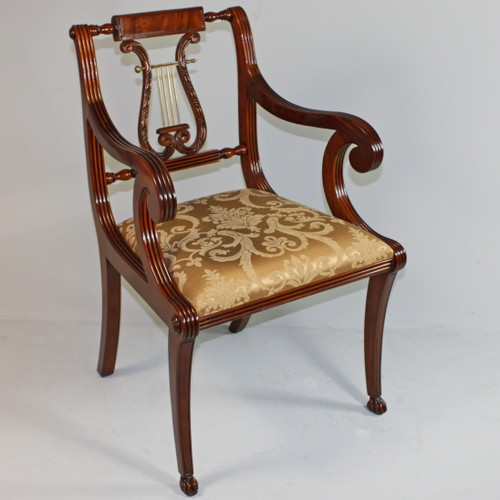 American Empire Duncan Phyfe - 35.5 Inch Handcrafted Reproduction Lyre Back Dining | Accent | Armchair - Gold Damask Upholstery 010a - Wood Tone Mahagany Luxurie Furniture Finish M