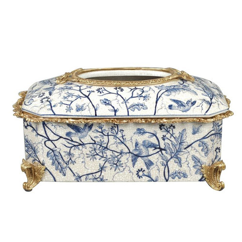 """***Lyvrich Objet d'Art   Handmade Tissue Box Cover Centerpiece   Blue and White Natural Simplicity,   Porcelain with Gilded Dior Ormolu Trim,   7.49""""t X 12.25""""L X 5.75""""d   6489"""